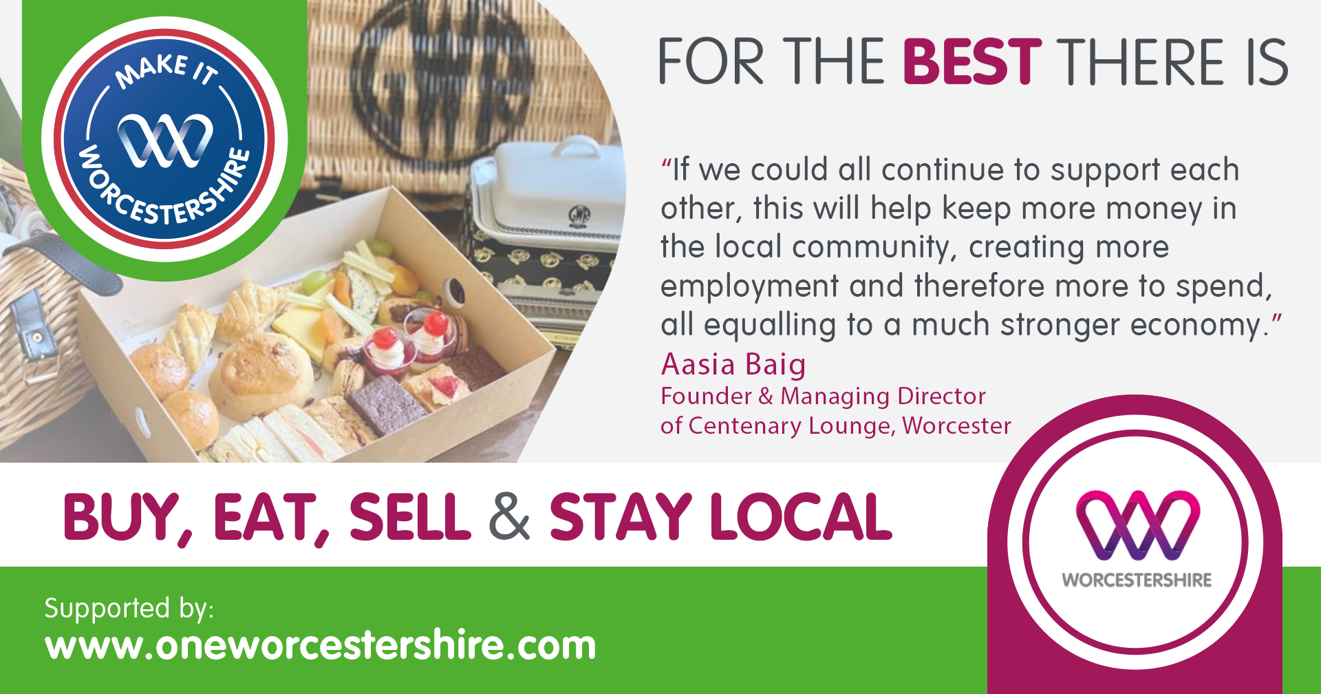 Make It Worcestershire campaign graphic with quote from Aasia Baig, owner of Centenary Lounge, Worcester