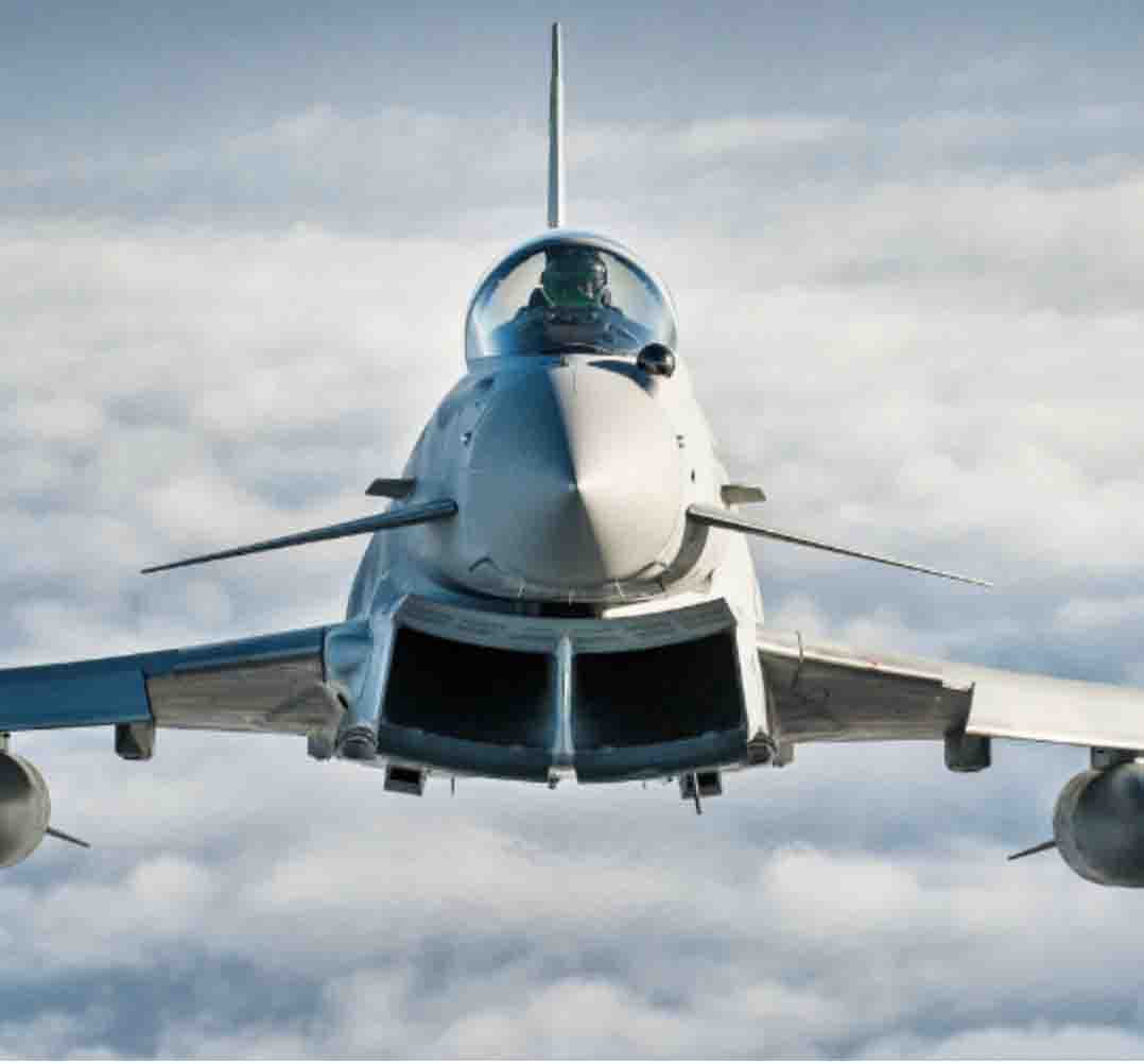 Typhoon combat aircraft from the front