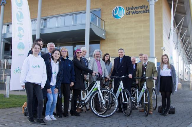 Group of members involved in the launch of the University cycle scheme gathered in front of the University of Worcester Arena