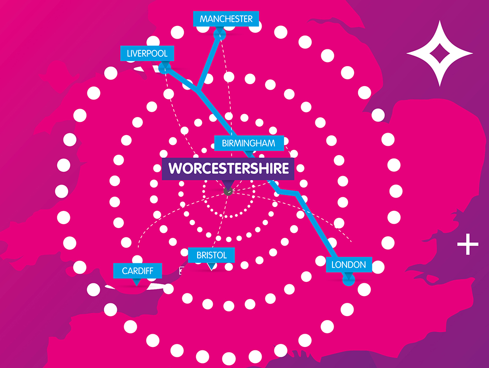 A map of the UK showing Worcestershire and other major cities